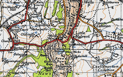 Old map of Little Malvern in 1947