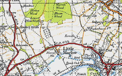 Old map of Little Marlow in 1947