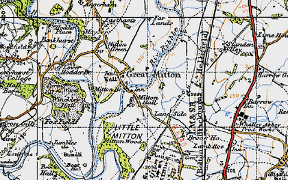 Old map of Little Mitton in 1947