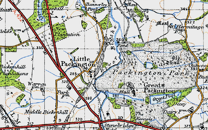 Old map of Bannerley Pool in 1947