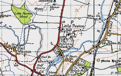 Old map of Little Paxton in 1946
