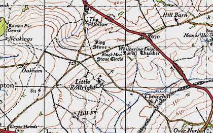 Old map of Whispering Knights in 1946