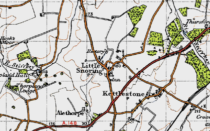 Old map of Alethorpe Hall in 1946