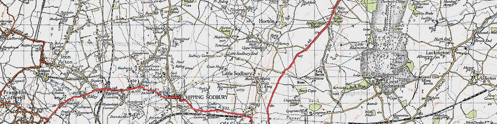 Old map of Little Sodbury in 1946