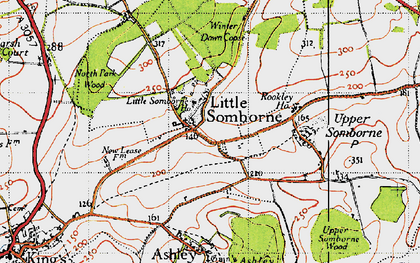 Old map of Winter Down Copse in 1945