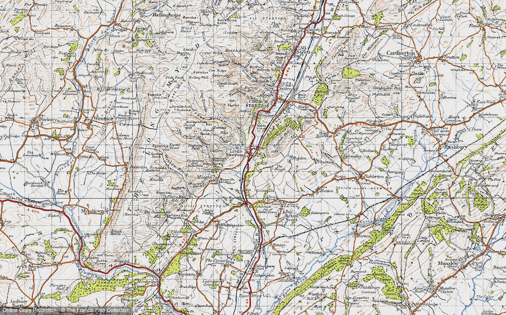 Old Map of Historic Map covering Ashes Hollow in 1947