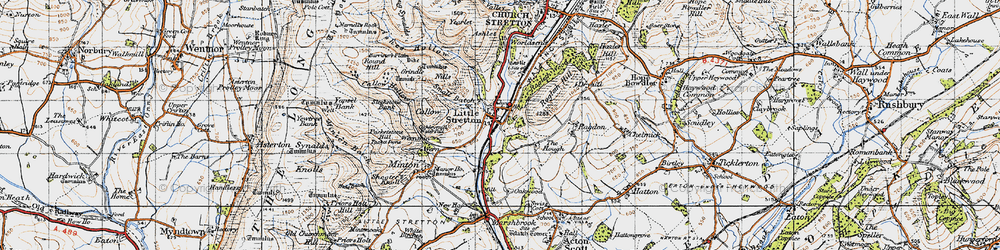 Old map of Little Stretton in 1947