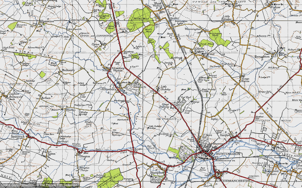 Old Map of Historic Map covering Alconbury Ho in 1946