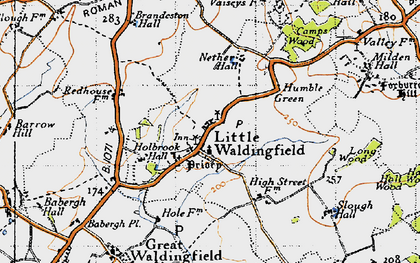 Old map of Little Waldingfield in 1946