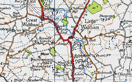 Old map of Little Waltham in 1945