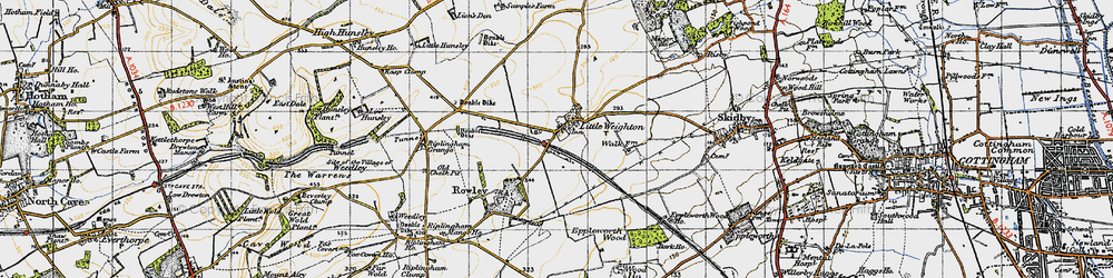 Old map of Little Weighton in 1947