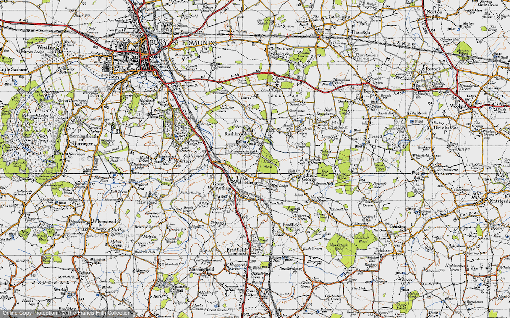 Old Map of Historic Map covering Link Wood in 1946