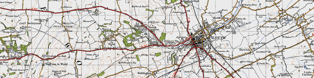 Old map of Acthorpe Top in 1946