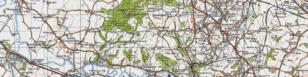 Old map of Little Wenlock in 1947