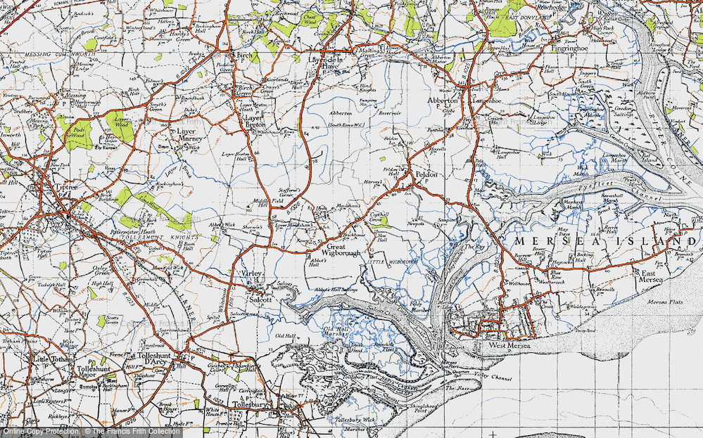 Old Map of Historic Map covering Abbot's Hall Saltings in 1945