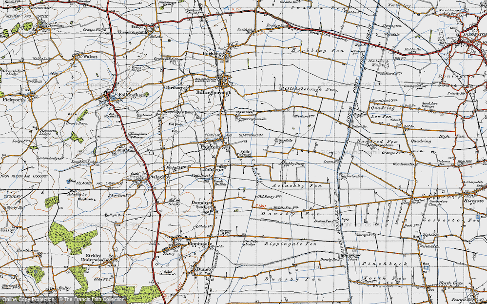 Old Map of Historic Map covering Aslackby Fen in 1946