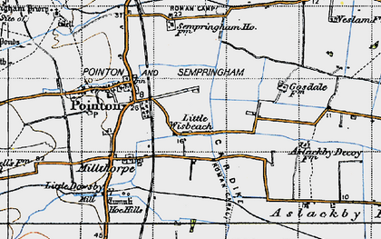 Old map of Aslackby Fen in 1946