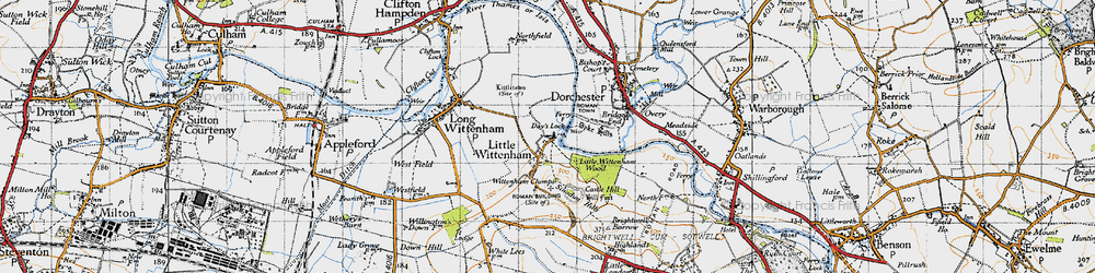 Old map of Wittenham Clumps in 1947