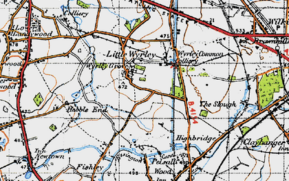 Old map of Wyrley Common in 1946