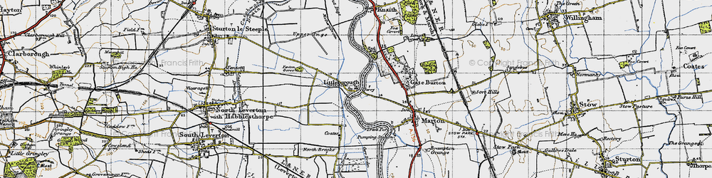 Old map of Gate Burton in 1947