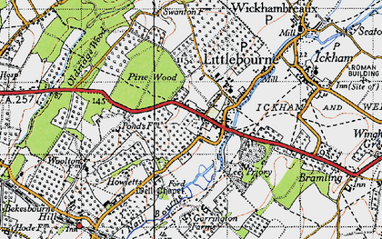 Old map of Littlebourne in 1947