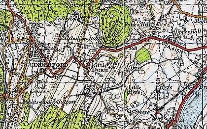Old map of Littledean in 1946