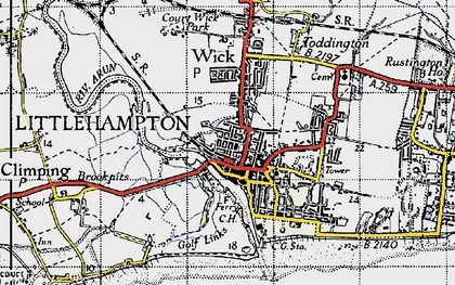 Old map of Littlehampton in 1945