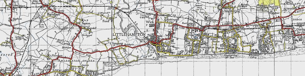 Old map of Littlehampton in 1945