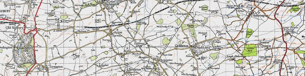 Old map of Littleton Drew in 1946