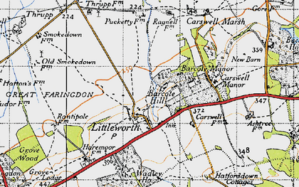 Old map of Barcote Barn in 1947