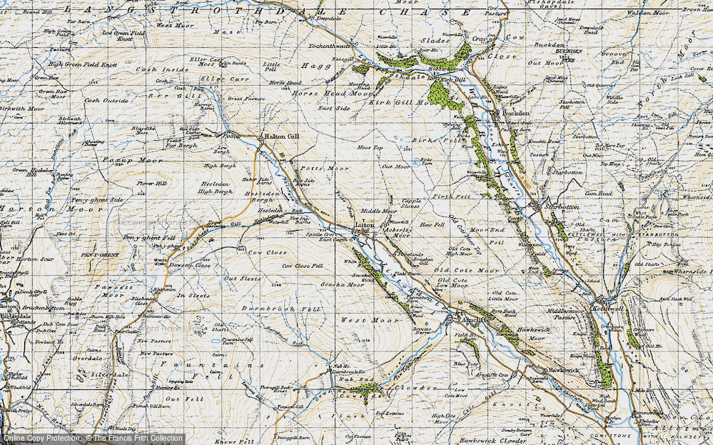Old Map of Historic Map covering Ackerley Moor in 1947