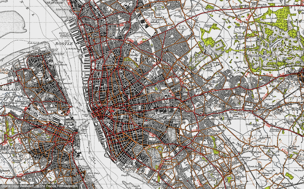 Map of Liverpool 1947 Francis Frith
