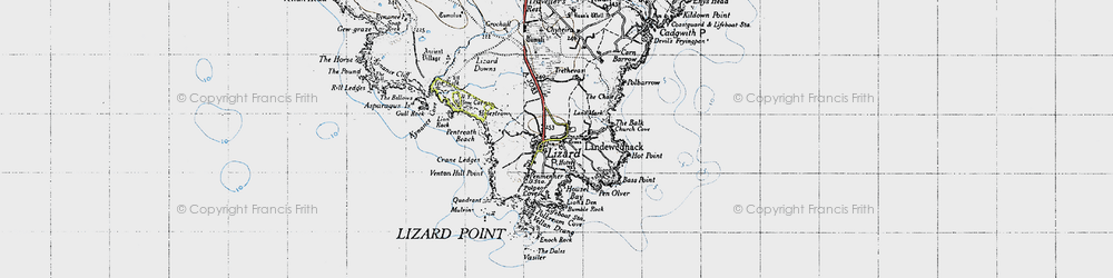 Old map of Lizard in 1946