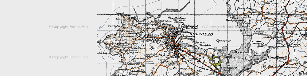 Old map of Ynys Wellt in 1947
