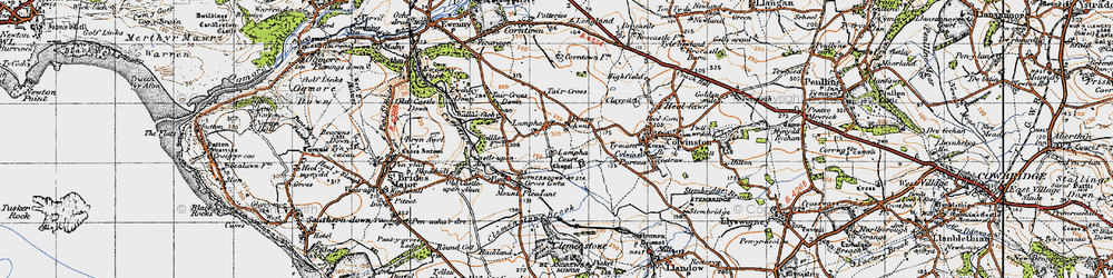 Old map of Afon Alun in 1947