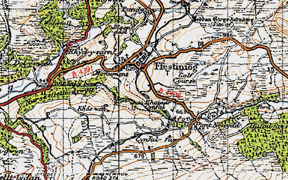 Old map of Llan Ffestiniog in 1947