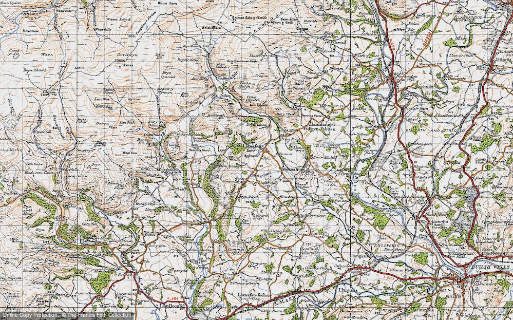 Old Map of Historic Map covering Allt y Clych in 1947