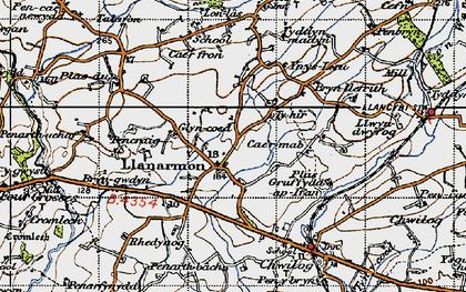 Old map of Llanarmon in 1947