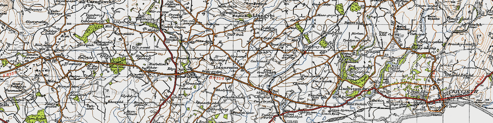 Old map of Lôn-las in 1947