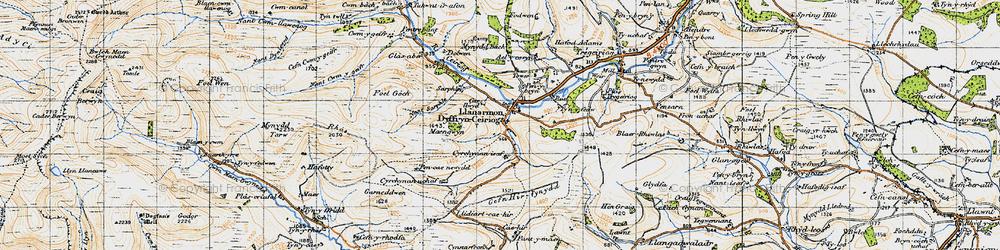 Old map of Llanarmon Dyffryn Ceiriog in 1947