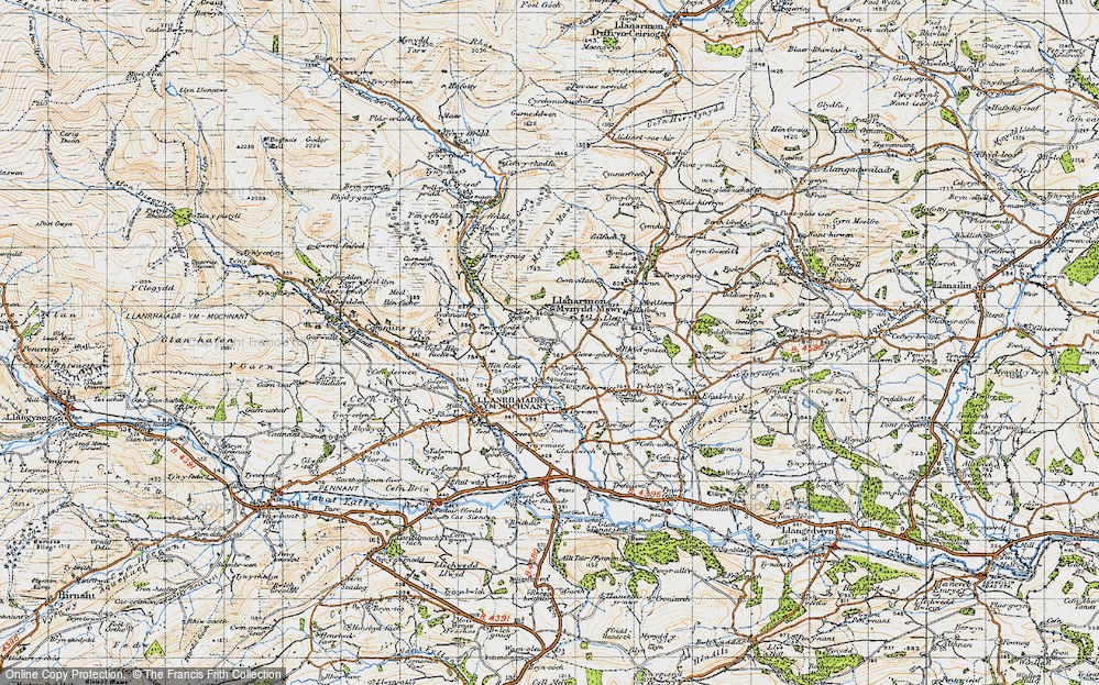 Old Map of Historic Map covering Afon lwrch in 1947