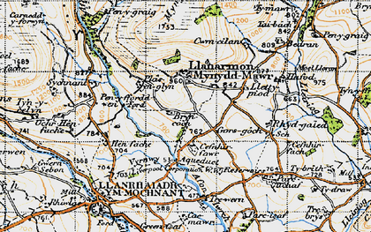 Old map of Afon lwrch in 1947
