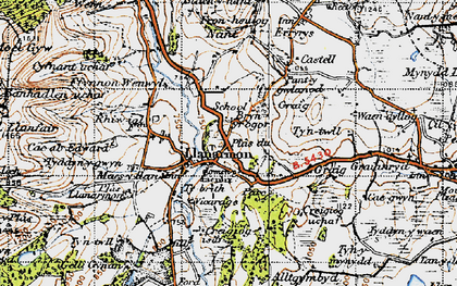 Old map of Llanarmon-yn-Ial in 1947