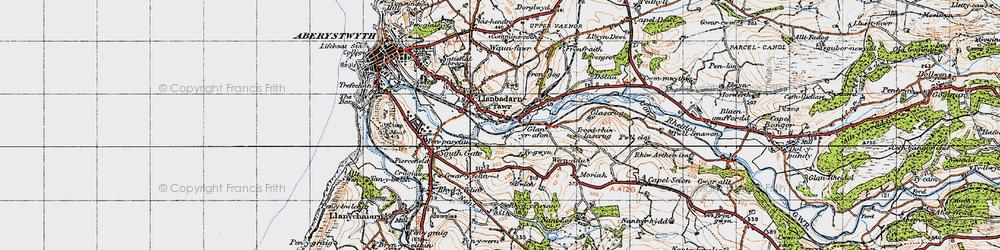 Old map of Llanbadarn Fawr in 1947