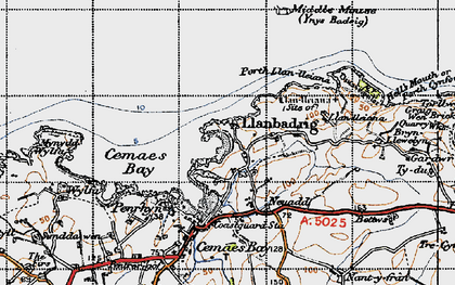 Old map of Llanbadrig in 1947