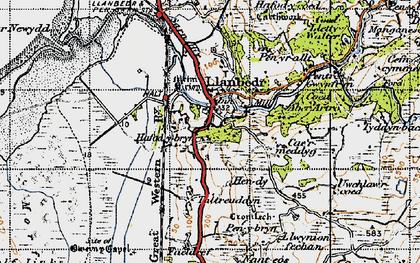 Old map of Llanbedr in 1947
