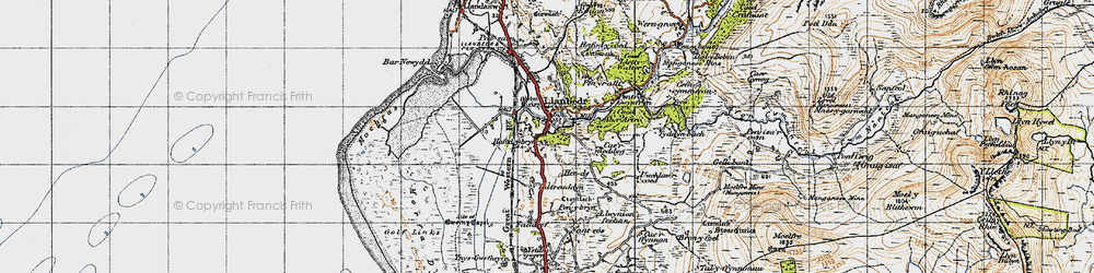 Old map of Llanbedr in 1947