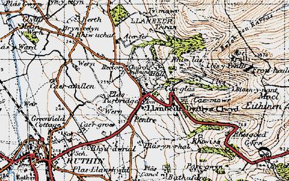 Old map of Llanbedr-Dyffryn-Clwyd in 1947