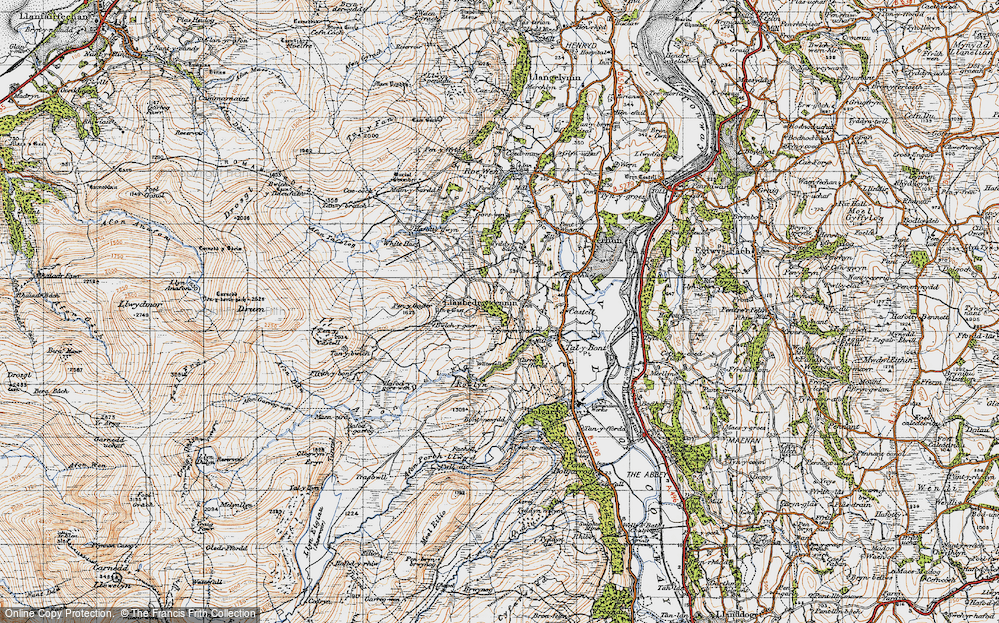 Old Map of Historic Map covering Afon Dulyn in 1947