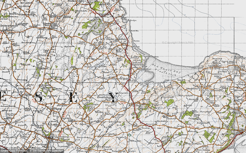 Old Map of Historic Map covering Ynys Isaf in 1947
